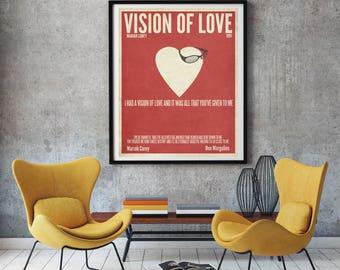 Vision of Love wall art, Mariah Carey wall art, Mariah Carey Decor,  Lamb gift, Mariah Carey fan, Lyric art, Lyric wall decor