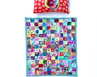 Kaffe Fassett Fabric Dollhouse Miniature Patchwork Modern Quilt Pillow & Bed1:12 Scale