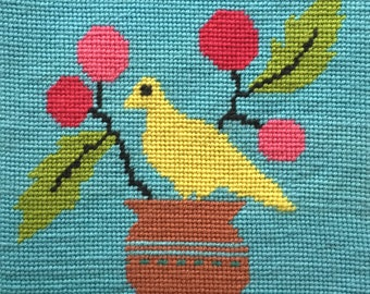 Modern Beginner Needlepoint Kit Whimsical Bird Printed Canvas DMC Wool 9X9