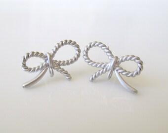 SALE Small Bow Stud Earrings- Matte Silver Bow Stud Earrings- EGS-SD6