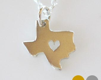 Texas Necklace- Gold Vermeil Texas State Necklace- Sterling Silver Texas Necklace- Silver TX Necklace- Texas Love Necklace- NS-ST2