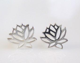 Gold Vermeil Lotus Earrings- Sterling Silver Lotus Earrings- Sterling Silver Lotus Studs-Lotus Post Earrings EGS-SD11