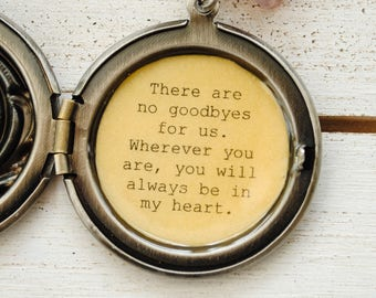 There are no goodbyes for us - Ghandi Quote - Quote necklace - Friendship jewelry - goodbye, memorial, bereavement, always in heart