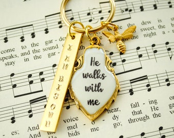 He walks with me - In the Garden Hymn Necklace - Faith Necklace, Christian Jewelry