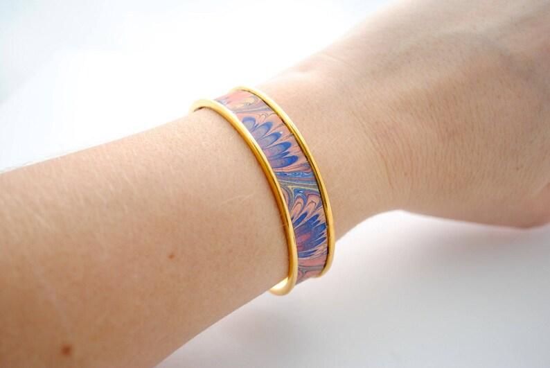 Repurposed Jewelry SALE Blue Rainbow Pastel Swirls Vintage Tin Cuff Bracelet Lavender Pink Upcycled Jewelry