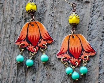 Orange Red Tulip Tea Tin Chandelier Earrings - Upcycled Jewelry, Repurposed Jewelry, Boho Earrings, Gypsy, Colorful, Bohemian Earrings