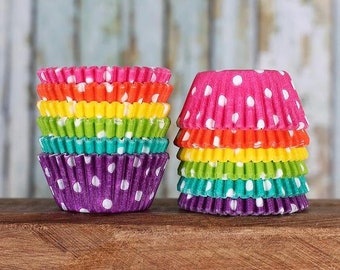 MINI Cupcake Liners: Bright Rainbow Cupcake Liners, Mini Polka Dot Cupcake Liners, Mini Rainbow Cupcake Liners, Candy Cups (120)