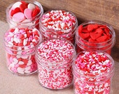 Valentine's Sprinkles Set, Sweetheart Sprinkles Kit, Red, White and Pink Sprinkles, Heart Sprinkles, Mini Sprinkles (1 oz - 6 jars)