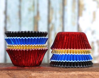 Mini Super Hero Foil Cupcake Liners, Super Hero Candy Cups, Mini Cupcake Liners, Mini Super Hero Baking Cups, Mini Cupcake Wrappers