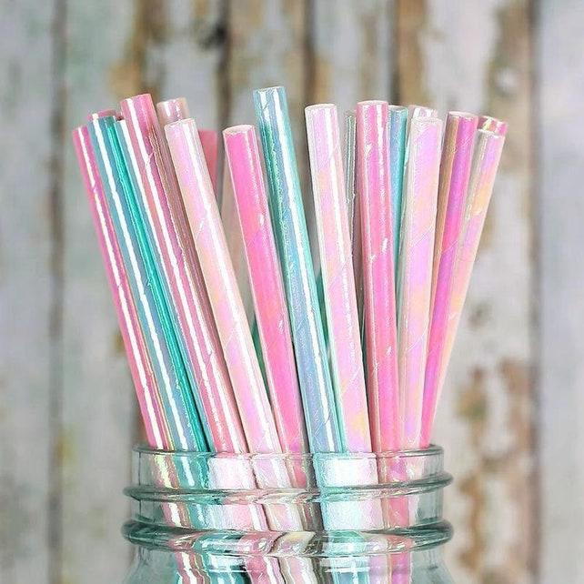 Iridescent Paper Straws, Pastel Paper Straws, Pink Paper Straws, Aqua Paper Straws, Mermaid Straws, Unicorn Straws, Shimmer Straws