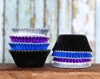 Mini Galaxy Foil Cupcake Liners, Galaxy Candy Cups, Mini Purple Cupcake Liners, Mini Black Cupcake Liners, Mini Blue Cupcake Liners