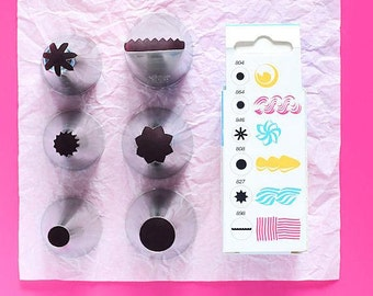 6 Piece Ateco Large Frosting Tip Set, Large Decorating Tubes, Large Decorating Tips, Large Icing Tips, Jumbo Icing Nozzles, Pastry Tubes