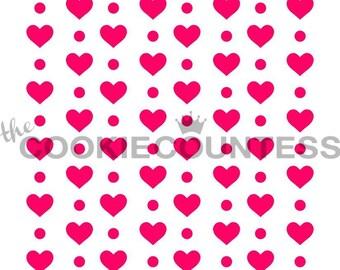 Dots & Hearts Cookie Stencil, Heart Sugar Cookie Stencil, Heart Fondant Stencil, Cookie Countess Cookie Stencil, Mini Heart Stencil