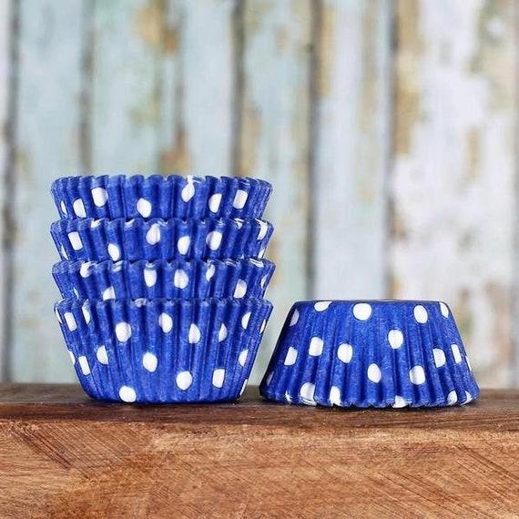 MINI Blue Polka Dot Cupcake Liners, Royal Blue Candy Cups, Mini Wedding Treat Cups, Mini Blue Liners, July 4th Mini Cupcake Liners (100)