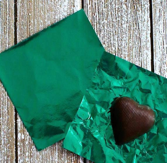 Dark Green Foil Candy Wrappers, Green Foil Candy Bar Wrappers, St. Patrick's Candy Wrappers, Christmas Candy Wrappers, Lollipop Wrappers