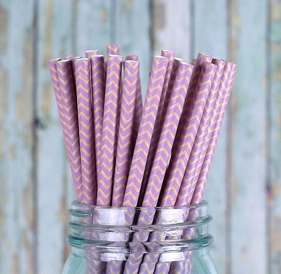 Purple Paper Straws, Purple Chevron Paper Straws, Purple Drinking Straws, Kraft Brown Paper Straws, Cocktail Straws, Fancy Straws (30)