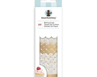 Mini Gold Cupcake Liners, MIni Gold and White Cupcake Liners, Sweet Tooth Fairy Cupcake Liners, Mini Gold Baking Cups