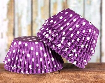 Purple Polka Dot Cupcake Liners, Purple Cupcake Liners, Purple Baking Cups, Purple Cupcake Wrappers, Purple Muffin Papers (50)