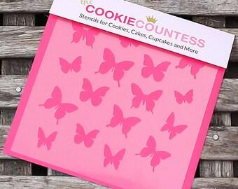 Butterfly Cookie Stencil, Butterfly Sugar Cookie Stencil, Butterfly Fondant Stencil, Cookie Countess Cookie Stencil, Butterfly Stencil