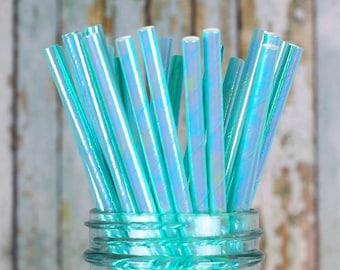 Iridescent Aqua Paper Straws, Aqua Straws, Shimmer Straws, Mermaid Straws, Unicorn Straws, Party Straws, Drinking Straws, Iridescent Straws