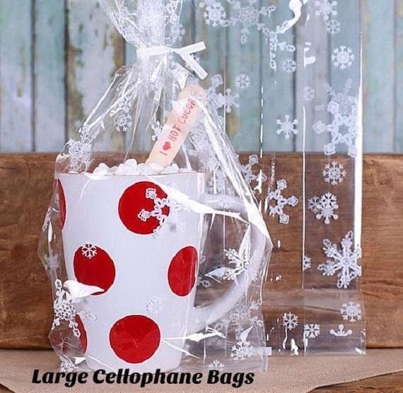 Christmas Cookie Bags Large Snowflake Cellophane Bags Twist Ties Hot Cocoa Mug Bags Candy Bags Snowflake Favor Bags Goodie Bags