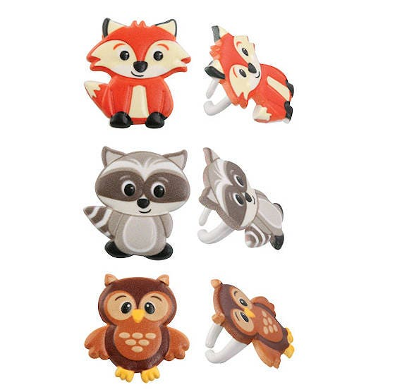 Woodland Cupcake Toppers Woodland Animals Cake Toppers Fox ...