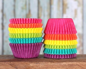 Mini Cupcake Liners: Bright Rainbow Cupcake Liners, Mini Rainbow Baking Cups, Mini Rainbow Cupcake Liners, Candy Cups (120)
