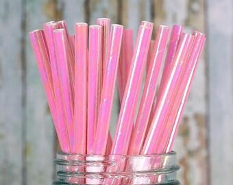 Iridescent Pink Paper Straws, Pink Cake Pop Sticks, Shimmer Pink Straws, Valentine's Straws, Unicorn Straws, Mermaid Straws, Drinking Straws