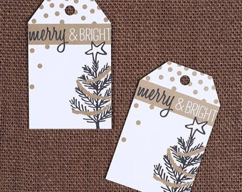 Merry & Bright Christmas Gift Tags, Holiday Gift Tags, Christmas Parcel Tags, Wedding Favor Tags, Blank Gift Tags, Gold Christmas Tags (12)
