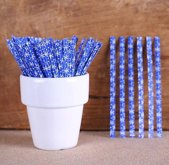 Blue Snowflake Twist Ties, Holiday Twist Ties, Christmas Twist Ties, Paper Twist Ties, Blue Twist Ties, Cellophane Bag Ties (100)