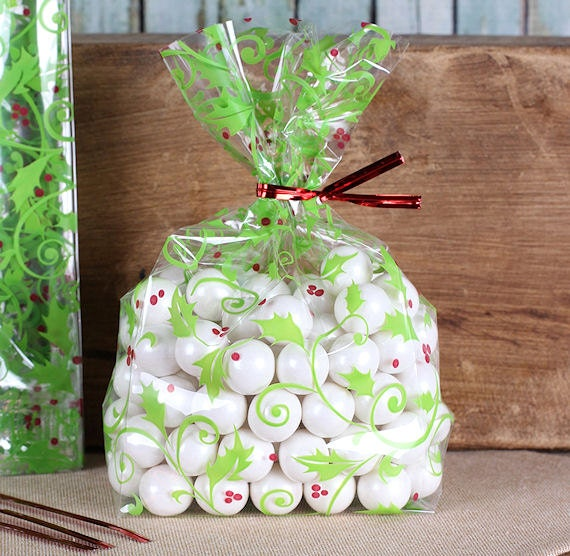 Christmas Cookie Bags Small Holly Berries Cellophane Bags