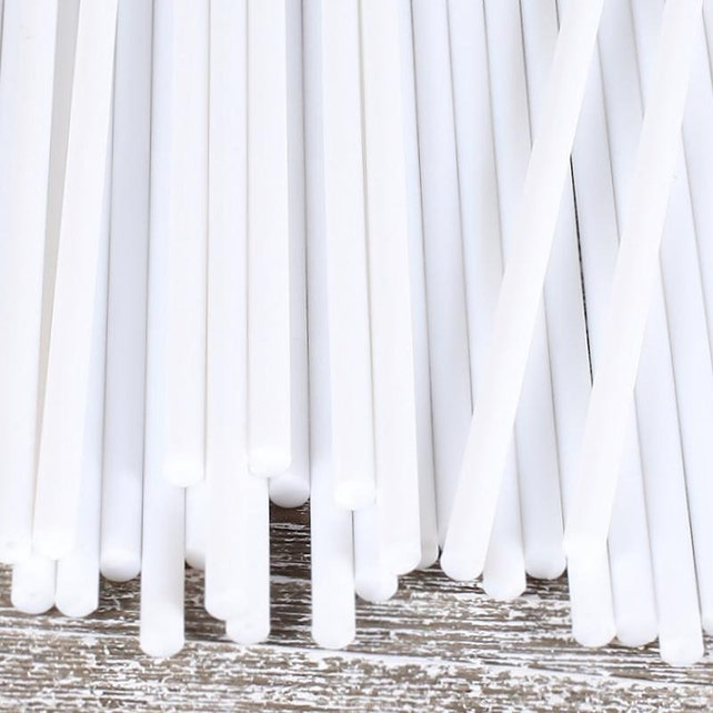 "6"" White Plastic Lollipop Sticks, White Cake Pop Sticks, White Lollipop Sticks, Rice Crispy Pop Sticks, Marshmallow Pop Sticks"