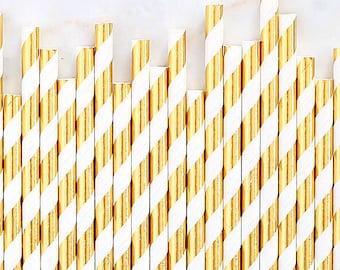 Gold Foil Paper Straws, Gold Foil Stripe Paper Straws, Gold Cake Pop Sticks, Foil Gold Paper Straws, Wedding Paper Straws, Gold Party Straws