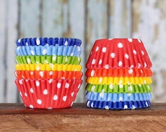 Mini Cupcake Liners: Happy Rainbow Cupcake Liners, Mini Polka Dot Cupcake Liners, Mini Rainbow Cupcake Liners, Candy Cups (120)