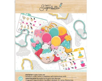 Birthday Cookie Cutter Set, Sweet Sugarbelle Cookie Cutter Kit, Party Cookie Cutters, Birthday Biscuit Cutters, Balloon Pastry Cutters