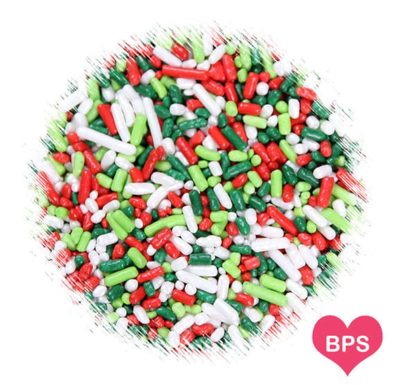 Merry Christmas Jimmies Sprinkles Red Green Lime White Christmas Cookie Sprinkles Holiday Sprinkles Christmas Sprinkles Decorettes