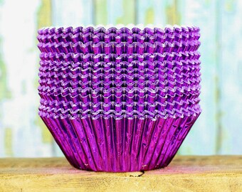Purple Foil Cupcake Liners, Foil Baking Cups, Purple Wedding Liners, Foil Muffin Liners, Cupcake Tins, Cupcake Wrappers, Baking Cups (50)