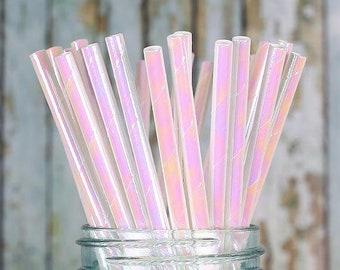 Iridescent Paper Straws, White Shimmer Straws, Wedding Paper Straws, Drinking Straws, Iridescent Straws, Unicorn Straws, Mermaid Straws