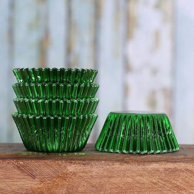 Mini Green Foil Cupcake Liners, Mini Foil Baking Cups, Christmas Green Candy Cups, MIni Green Treat Cup, St. Patrick's Day Mini Liners (100)
