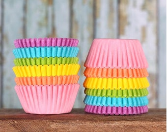 Mini Cupcake Liners: Pastel Rainbow Cupcake Liners, Mini Rainbow Baking Cups, Mini Rainbow Cupcake Liners, Pastel Candy Cups (120)