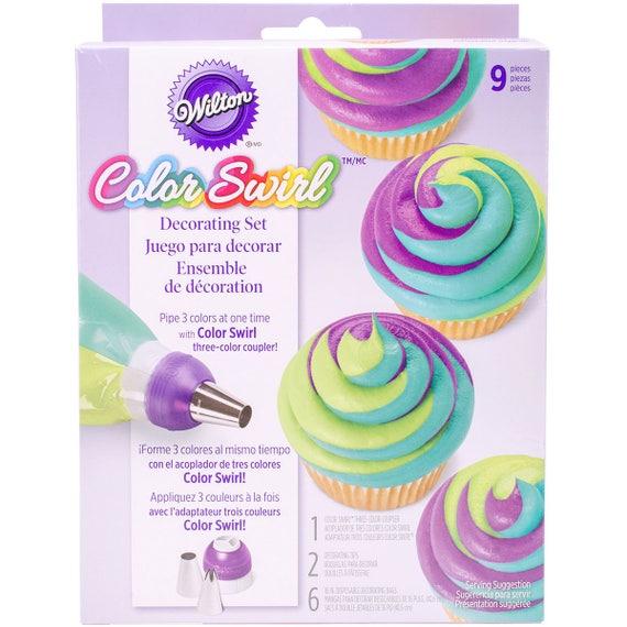 Cake Decorating Frosting Tip Set, Wilton Color Swirl Set, Icing Tips, Tri Colored Frosting Tip Set, Icing Tubes, Cake Decorating Kit
