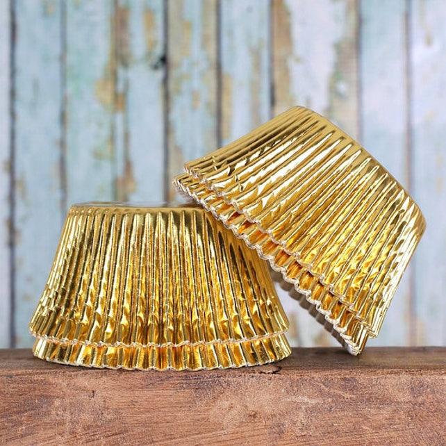 Jumbo Gold Foil Cupcake Liners, Jumbo Gold Cupcake Liners, Texas Size Baking Cups, Jumbo Foil Muffin Cups, Jumbo Gold Cupcake Wrappers