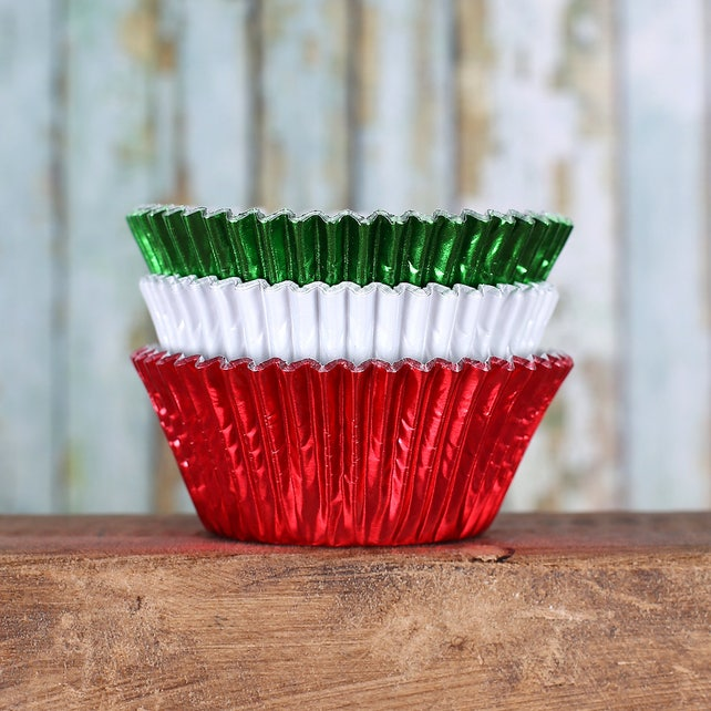 Foil Christmas Cupcake Liners, Christmas Baking Cups, Christmas Cupcake Wrappers, Foil Baking Cups, Metallic Baking Cups (60)