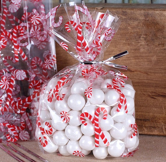 Christmas Cookie Bags Small Christmas Candy Cane Cellophane Etsy
