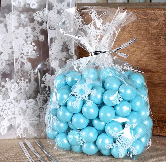 Christmas Cellophane Bags.Snowflake Cello Bag Kit Snowflake Candy Bags With Ties