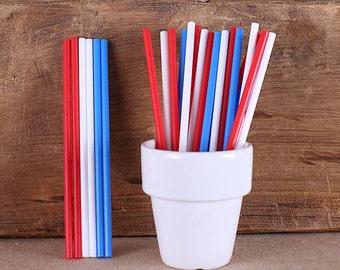 "6"" Patriotic Lollipop Sticks, Patriotic Cake Pop Sticks, Plastic Lollipop Sticks, 4th of July Cake Pop Sticks, Patriotic Sucker Sticks"