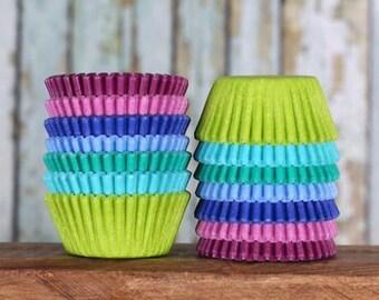 Mini Cupcake Liners: Under the Sea Cupcake Liners, Mini Baking Cups, Pink Cupcake Liners, Candy Cups, Mermaid Cupcake Liners (140)