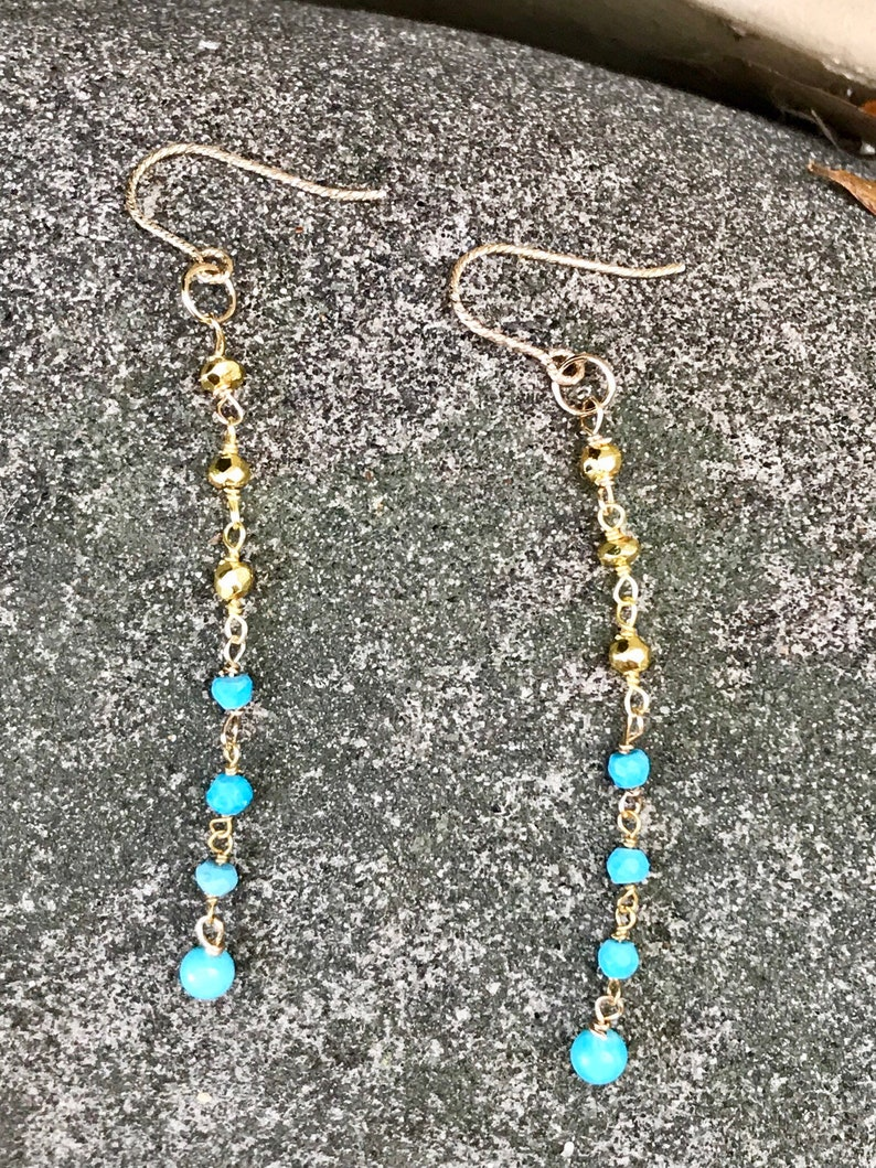 9eab4ad0f 14kt gold filled Pyrite & Turquoise dangle chain earrings | Etsy