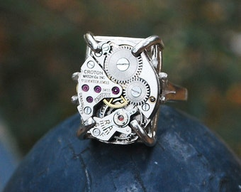 Sterling Recycled Watch Movement Ring