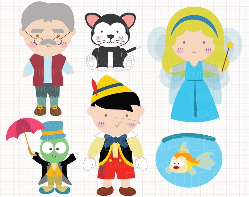 Disney Inspiriert Pinocchio Digital Clip Arts Private Und Gewerbliche Verwenden Für Einladungen Cupcake Toppers Geburtstagskarten Party Zubehör